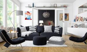 客厅休闲椅沙发等家具摆设高清图片