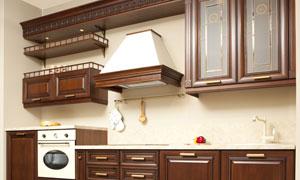 深色橱柜厨房实景效果摄影高清图片