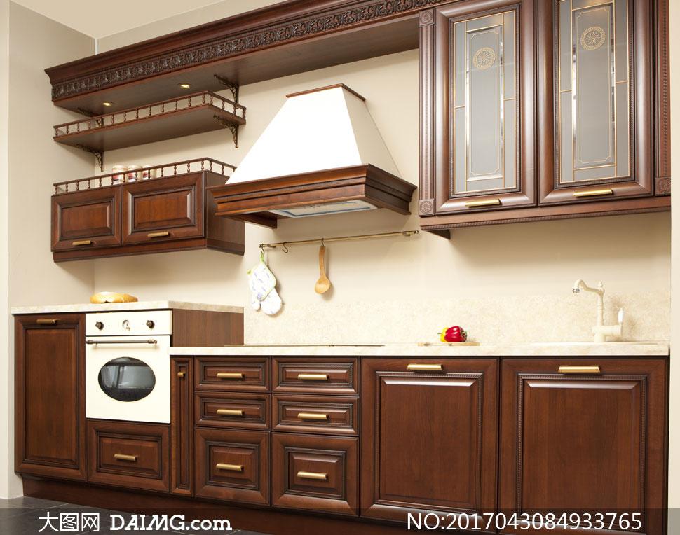 装修效果图装潢房间厨房橱柜地柜吊柜油烟机挂架水龙头胡桃木置物架