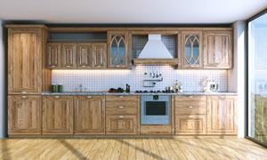 铺着木地板的厨房实景摄影高清图片