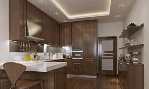 厨房操作台面与置物架摄影高清图片