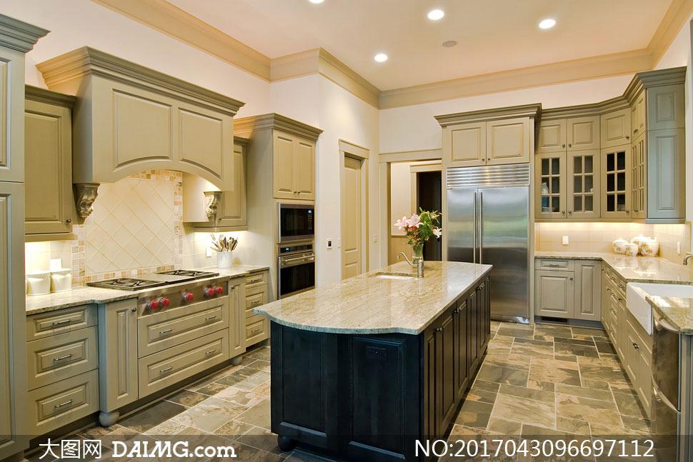 简约欧式厨房内景陈设摄影高清图片