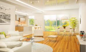 客厅餐厅家具布置实景摄影高清图片