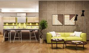 室内植物与沙发装饰画摄影高清图片