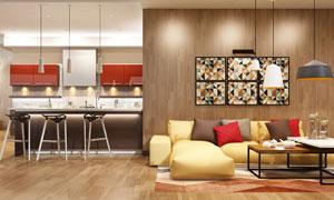 客厅陈设与开放式厨房效果高清图片