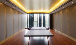房间里放着的乒乓球台摄影高清图片