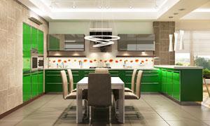 厨房桌椅与绿色的橱柜摄影高清图片