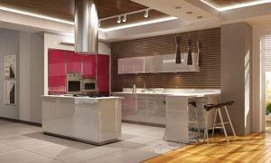 有吧台的厨房实景效果展示高清图片