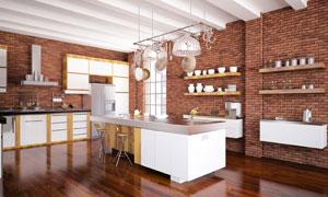 开放式厨房的厨具摆放效果高清图片