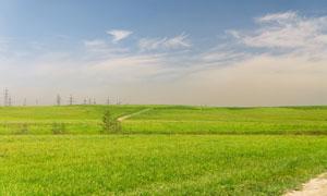 天空白云草地自然风光摄影高清图片
