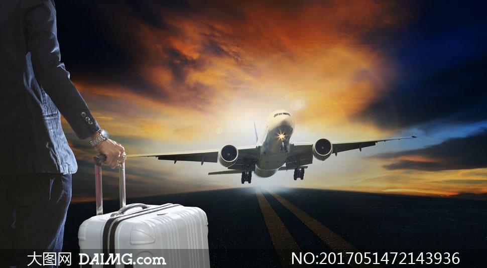 旅行人物与起飞的飞机摄影高清图片