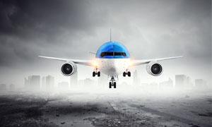 飞机与一片衰败的景象摄影高清图片