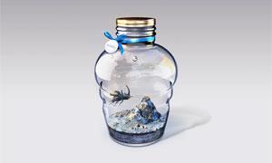 创意的漂流瓶中美景效果PS教程素材