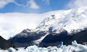 蓝天白云冰雪山峰风光摄影高清图片