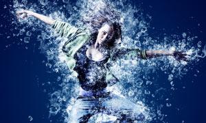 夏季人像添加冰块装饰特效PS动作