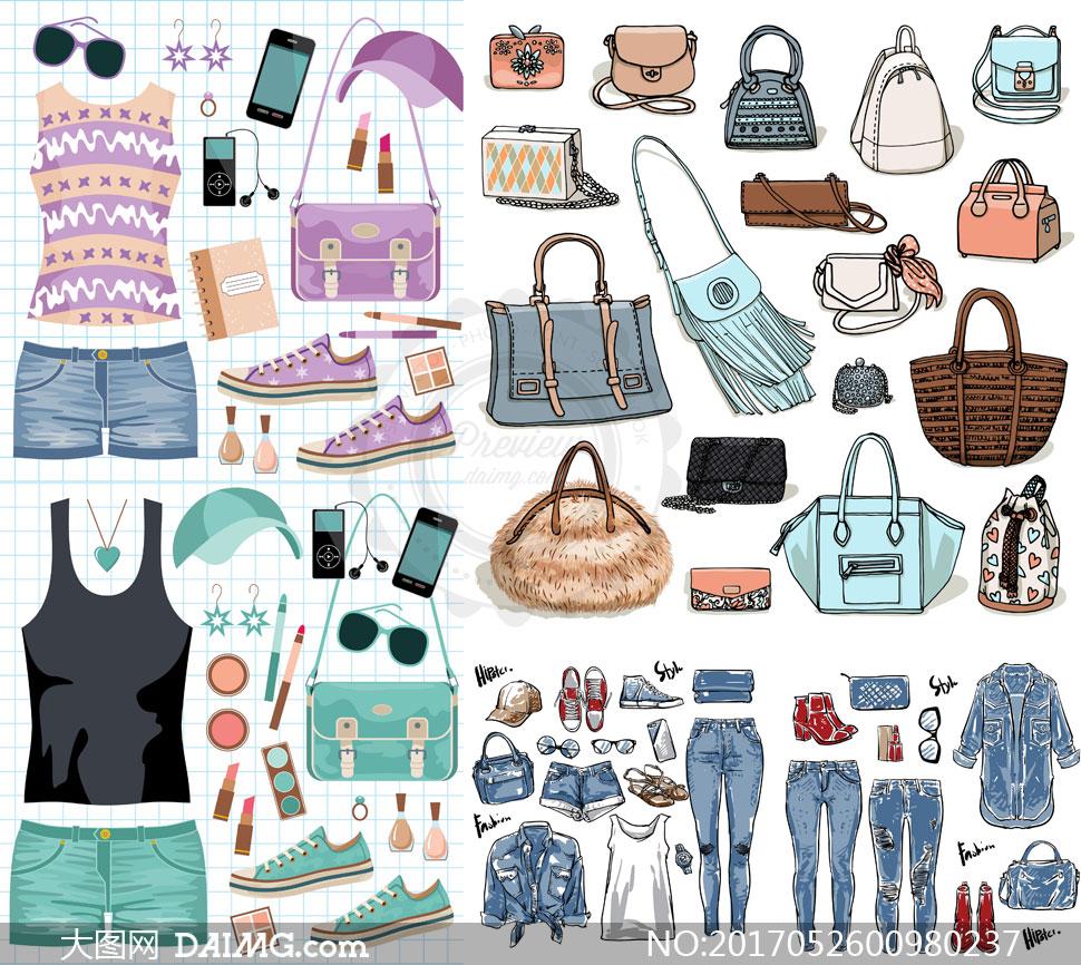 女性鞋包服装配饰主题设计矢量素材