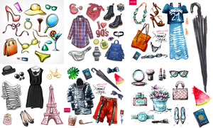 水彩风格的服饰鞋包等用品矢量素材