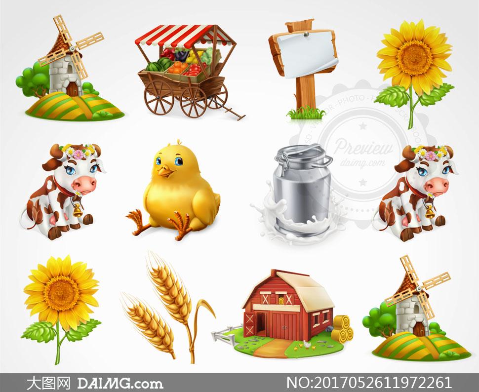 奶牛小鸡与小麦等农场元素矢量素材 - 大图网设
