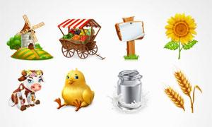 奶牛小鸡与小麦等农场元素矢量素材