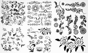 黑白效果花纹藤蔓装饰图案矢量素材