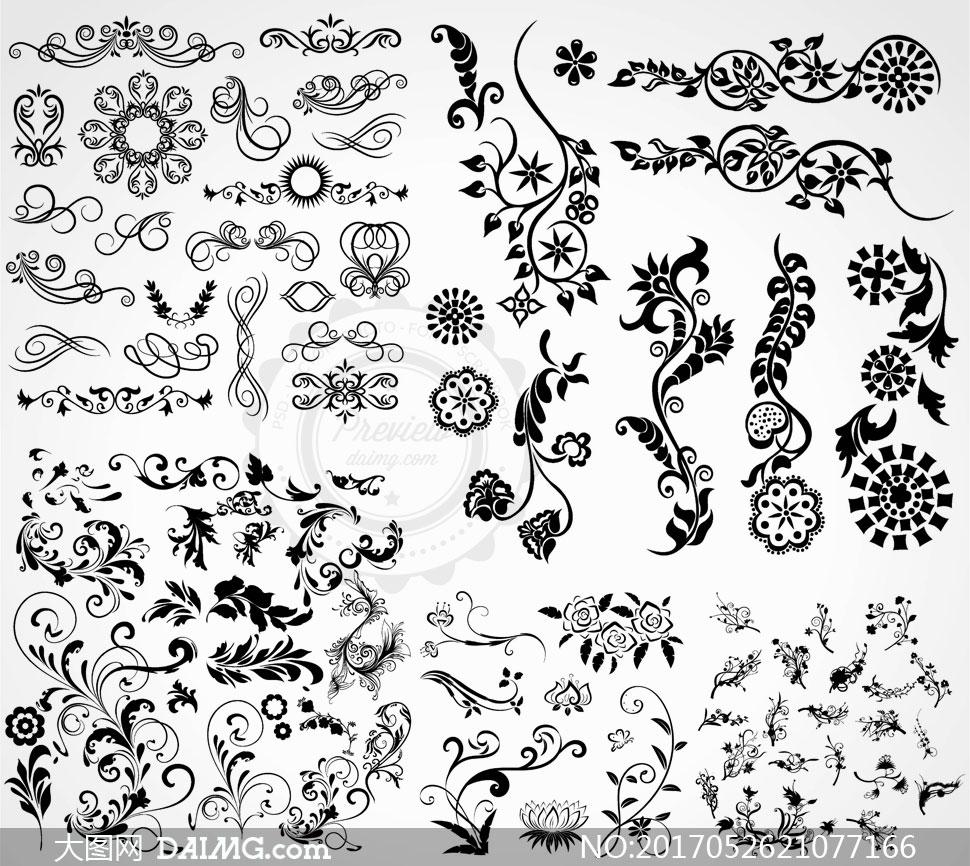 黑白效果黑白图案黑白花纹植物花纹玫瑰花缠绕弯曲