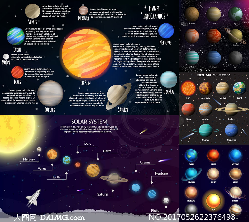 太阳系中的八大行星主题创意矢量图 - 大图网设计素材