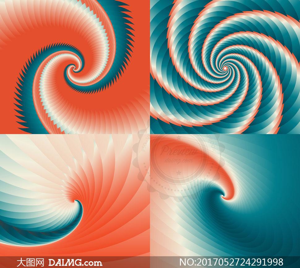 几何抽象螺旋效果背景创意矢量图v1