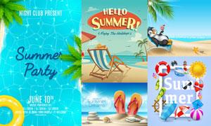 沙灘人字拖等夏日元素創意矢量素材