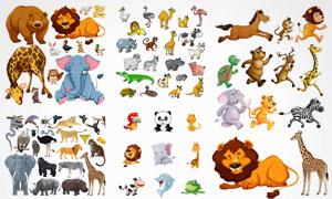猫头鹰长颈鹿与大象等卡通动物素材