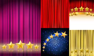 金色五角星与幕布背景设计矢量素材