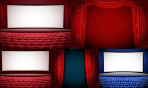 电影院幕布与观众座椅效果矢量素材