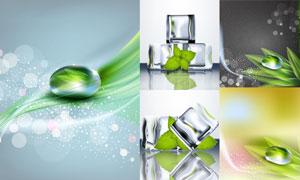 逼真冰块与晶莹剔透的水珠矢量素材