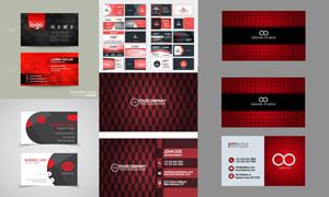 黑红配色商务名片版式设计矢量素材