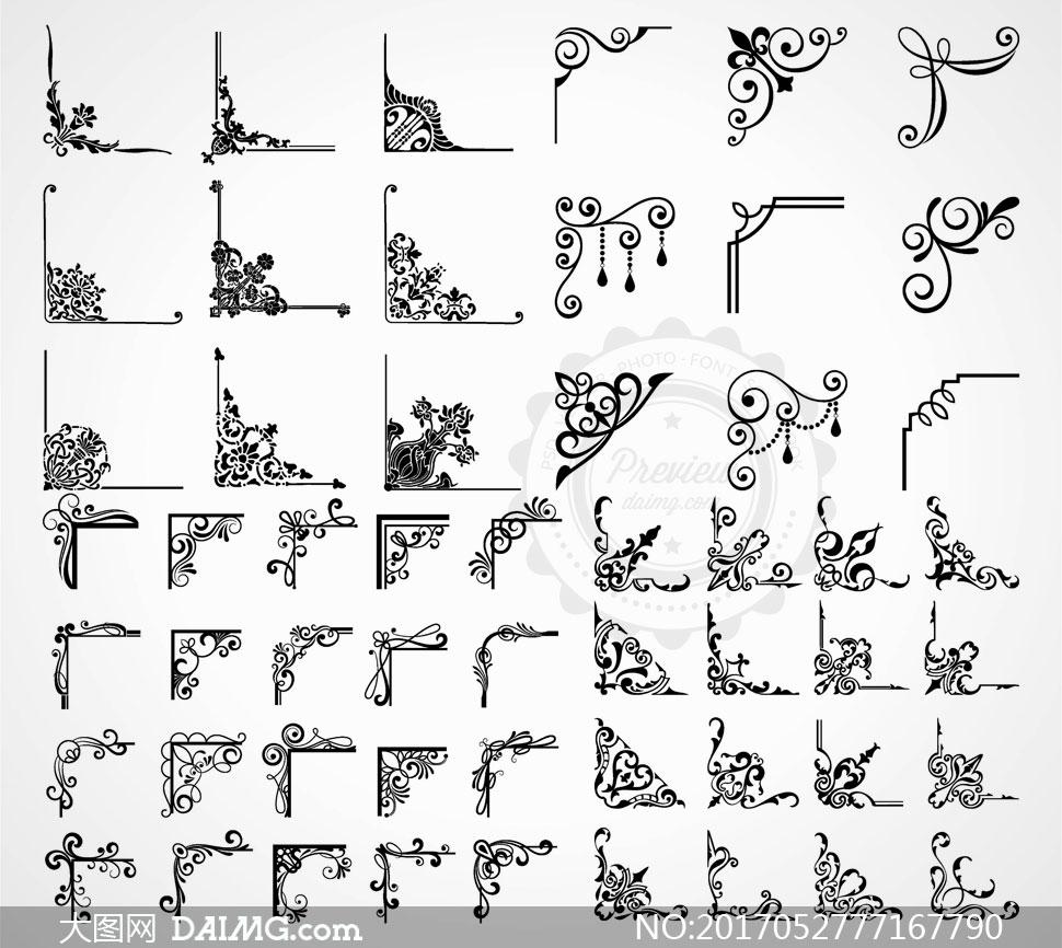 黑白效果装饰花边角花元素矢量素材