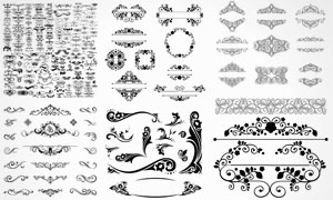 多款实用装饰花纹边框图案矢量素材