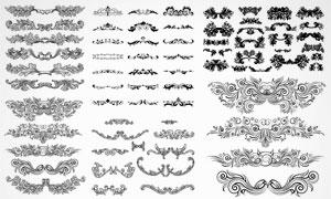 黑白效果欧式复古风格花纹矢量素材