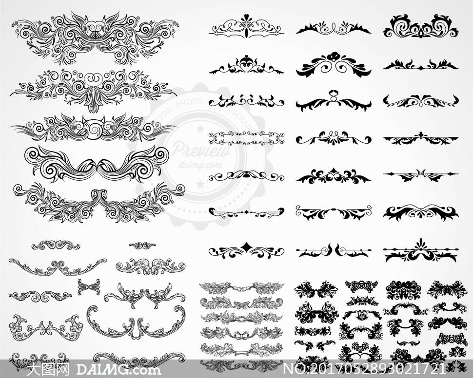 花纹图案花纹装饰黑白效果黑白图案黑白花纹分割线分隔线欧式复古怀旧