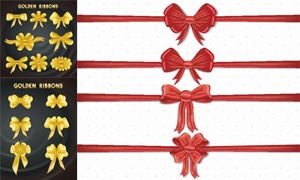 金色等装饰用蝴蝶结飘带矢量素材V1