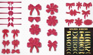 金色等装饰用蝴蝶结飘带矢量素材V2