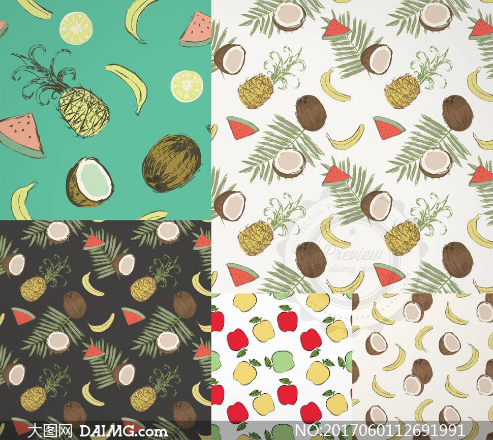 底纹背景 > 素材信息          香蕉菠萝与椰壳等无缝背景矢量素材