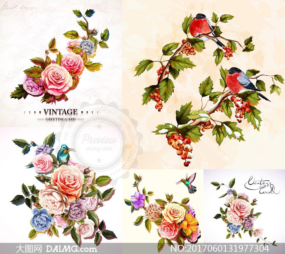 逼真效果小鸟与玫瑰花图案矢量素材