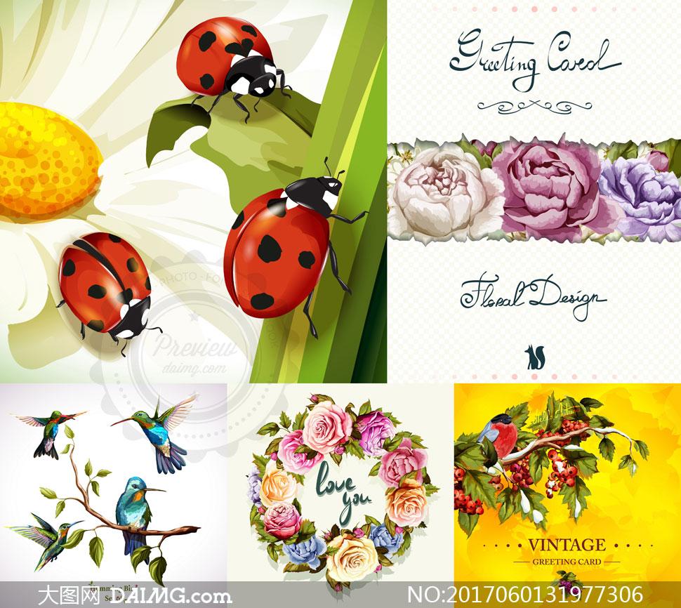 七星瓢虫与鲜花装饰边框等矢量素材