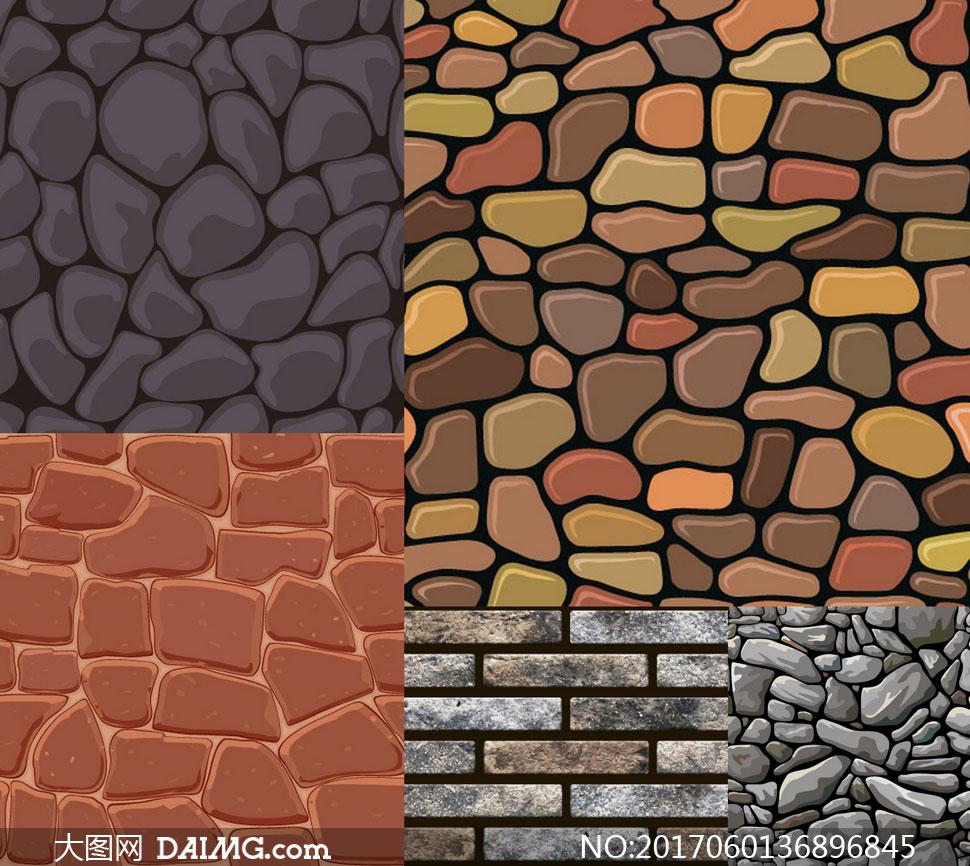 砖墙与铺石路面等底纹背景矢量素材