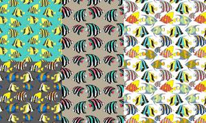 多彩鱼类主题无缝图案矢量素材集V1