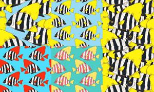 多彩鱼类主题无缝图案矢量素材集V2
