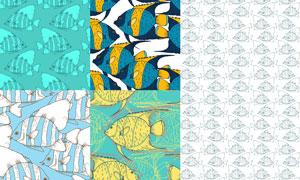 多彩鱼类主题无缝图案矢量素材集V3