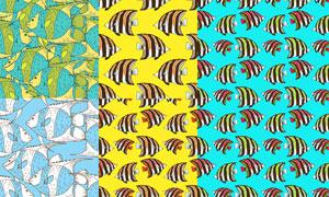 多彩鱼类主题无缝图案矢量素材集V4