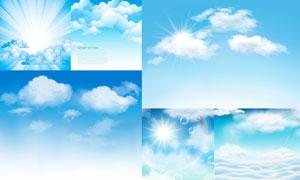 蓝天白云与耀眼的阳光创意矢量素材