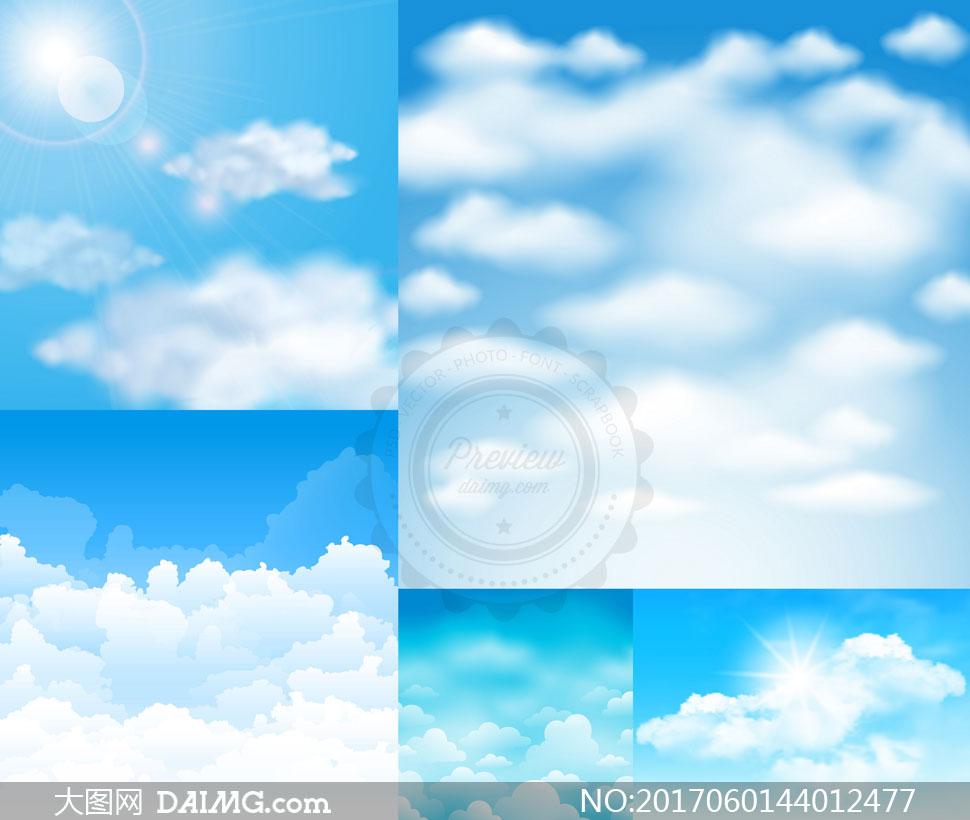 词: 矢量素材矢量图设计素材逼真质感自然风光风景蓝天天空多云云朵