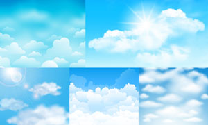 飘在天空中的朵朵白云创意矢量素材
